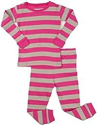 "Girls ""Striped"" 2 Piece Pajama Set Top & Pants 100% Cotton (Size Toddler-14 Years)"