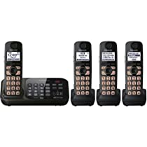 Panasonic KX-TG4744B DECT 6.0 Cordless Phone with Answering System, Black, 4 Handsets (Discontinued By Manufacturer)