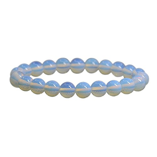 Synthetic Opalite Moonstone Glass 8mm Round Beads Stretch Bracelet 7 Unisex