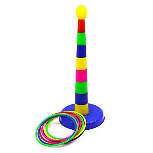 18'' Multi Color Colorful Plastic Sport Ring Toss Game Play Set Environmental Material Toy Game Portable Detachable Set With 8 Throw Rings for Kids Children for Fun(Color Randomly) by AMGLOBAL