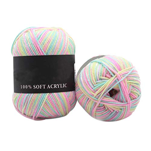 50g Durable Triple Brands Knitting Crochet Milk Cotton Soft Baby Faux Wool Yarn Lot - Yellow Green Pink qsbai