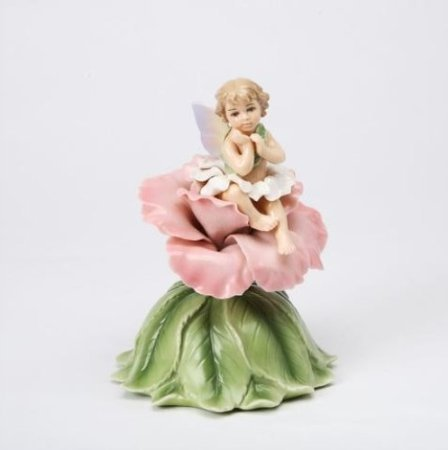 Cosmos 80059 Fine Porcelain Fairy with Rose Musical Figurine, 5-7/8-Inch