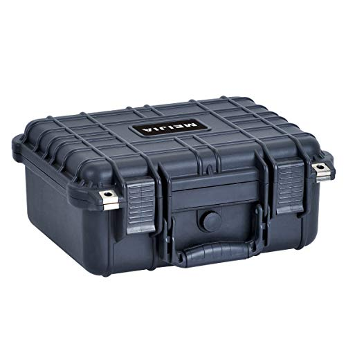 MEIJIA Portable All Weather Waterproof Hard Case,Camera Case with Foam,Fit Use of Drones,Camera,Equipments,Pistols,Elegant Black,13.35 x11.63x5.98inches