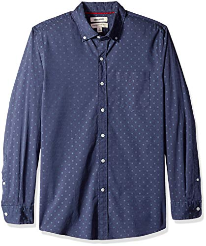 Goodthreads Men's Standard-Fit Long-Sleeve Dobby Shirt, -navy dot, XX-Large