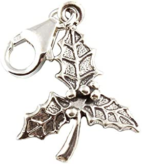 Sterling Silver Holly Leaf Clip On Charm - With 11mm Clasp - Christmas Charm School UK 4211C