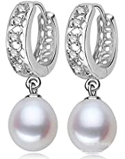 925 Sterling Silver Diamond Non-allergenic Nature Freshwater Pearl Drop Earring for Female pe20