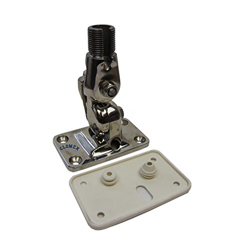 Glomex RA107SS - 4 way ratched mount in Stainless steel - locking by clamp - hole for cable & for GPS and feed-thru for coax cable - standard thread 1