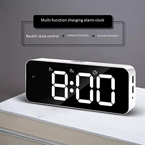 guangya Boutique LED Alarm Clock Student Alarm Clock Electronic Clock New Upgraded Version of Voice-Activated Charging (pear White,