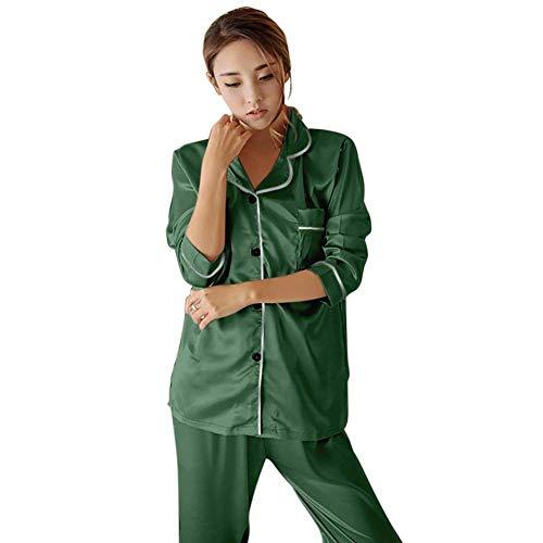 Pijama Dormir Pantalones Camison Manga De Largos Elegante Ropa El Larga Hogar Moda Redondo Pijamas Cuello Impreso Mujer Otoño Vintage Grün Primavera Casual Conjunto Para BwfA10