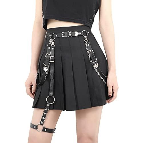 JasGood Women Punk PU Leather Belt with Chain Ladies Gothic Rock Waist Belt with Leg Garters Halloween( Black,Fit waist 26