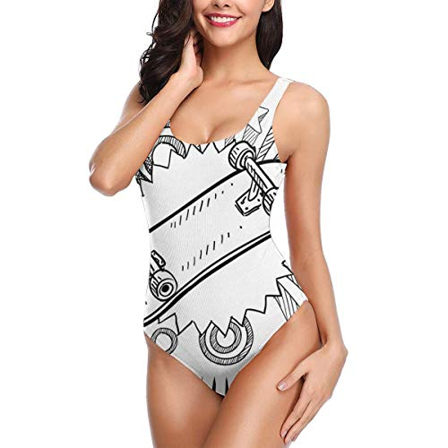Women One Piece Swimsuit Swimwear,Sketch of A Skateboard with Sixties and Seventies Style Pop Art Inspired Background ()