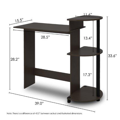 Furinno 11181EX/BK Compact Computer Desk, Espresso/Black