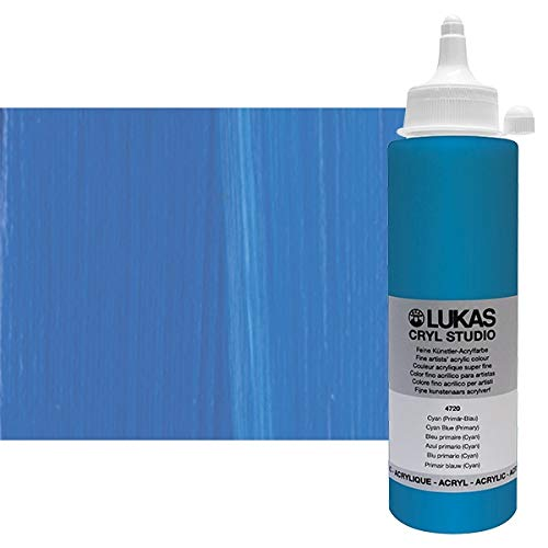 LUKAS CRYL Studio Artists Paint High Pigment Concentration Paint - 250 ml Bottle - Cyan Blue (Primary)