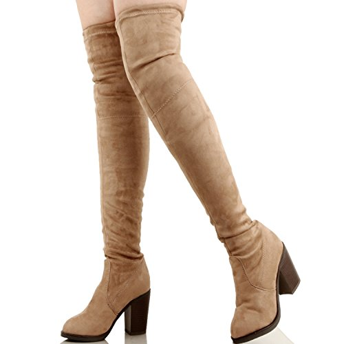 Womens Classic Over The Knee - Comfort Stretchy Slip On - Chunky Block Heel - Fitted Back Tie Suede Boots, Taupe Suede, 8.5 by Guilty Shoes