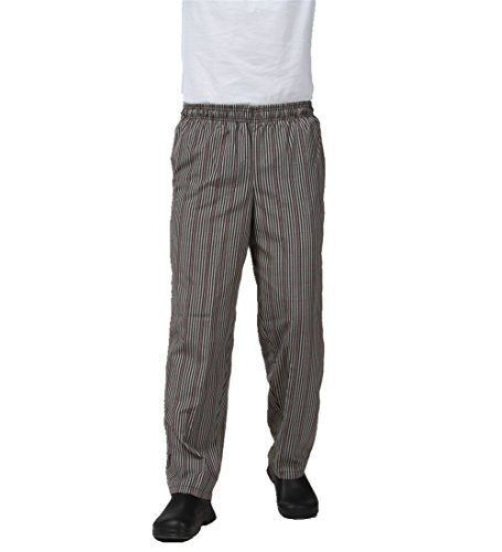 JXH Chef Uniforms Men's Brown Grey Striped Chef Pants with Elastic Waist by JXH Chef Uniforms