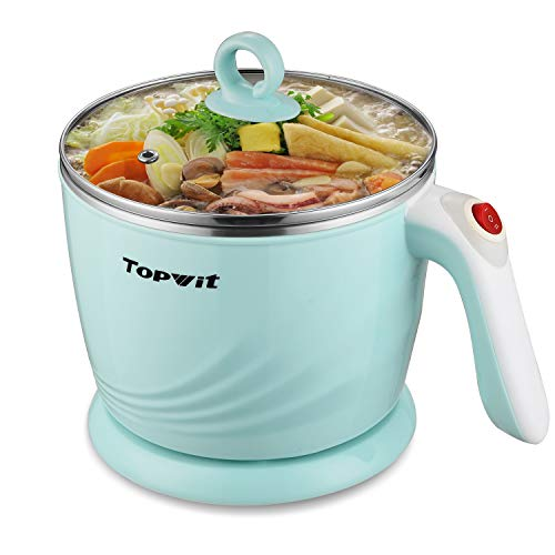 Topwit Electric Hot Pot Mini, Electric Cooker, Noodles Cooker, Electric Kettle with Multi-Function for Steam, Egg, Soup…