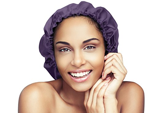 Satin Bonnet-Premium, Extra Large Satin Sleep Bonnet Cap, Double Layered, Reversible, Multi Color, (Purple/Black) Adjustable Satin Cap by Glow By Daye (Reversible Drawstring)