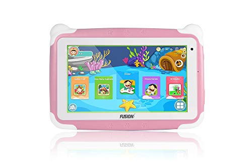 "Fusion5 7"" KD095 Kids Tablet PC - 64-bit Quad-core, Android 8.1 Oreo, WiFi, Parental Controls, Kids Learning Tools, 32GB Storage, Dual Cameras, Kids apps, Tablet PC for Kids (Pink)"