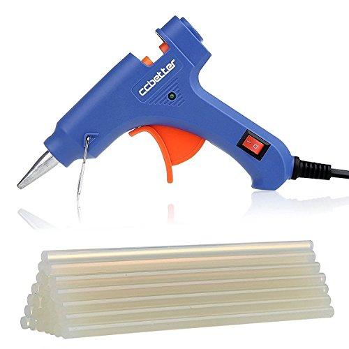 CCbetter Mini Hot Melt Glue Gun with 25pcs Glue Sticks High Temperature Melting Glue Gun Kit Flexible Trigger for DIY Small Craft Projects&Sealing and Quick Repairs(20-watt, Blue)