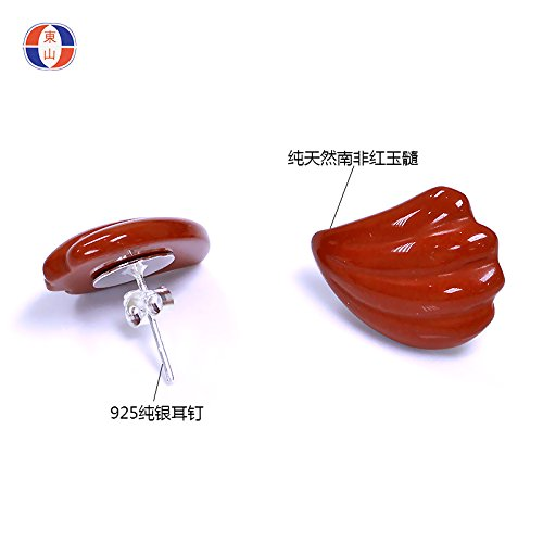 - TKHNE Natural carnelian earrings 925 white fungus needle exaggerated gem trade Warring States Red Feather Earrings 275