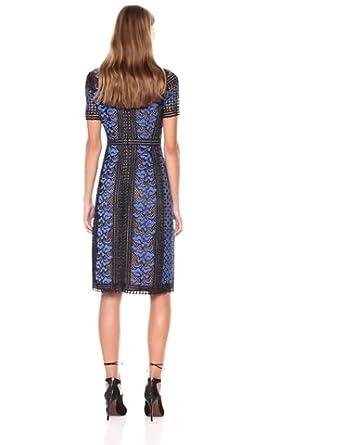 BCBGMax Azria Womens Cinthya Woven Short Sleeved Lace Dress