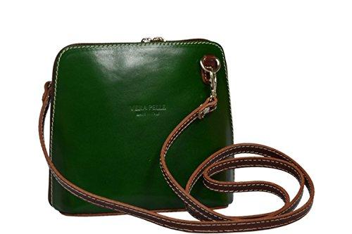 95023ddfc123f Schöne praktische Leder Grüne Handtasche aus Leder Grana Verde Marrone über  die Schulter