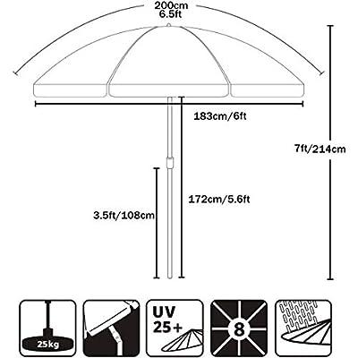 AMMSUN 6.5 ft Patio Umbrella Market Table Umbrella Tilt Steel Pole UPF50+ Protection, Great for Outdoor Garden Backyard (Red) : Garden & Outdoor