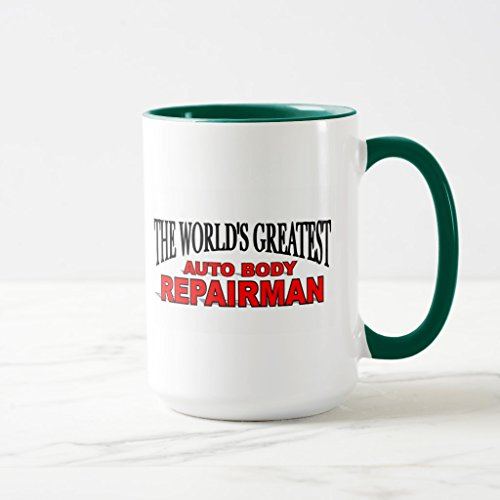 Zazzle The World's Greatest Auto Body Repairman Two-tone Coffee Mug, Hunter Green Combo Mug 15 oz