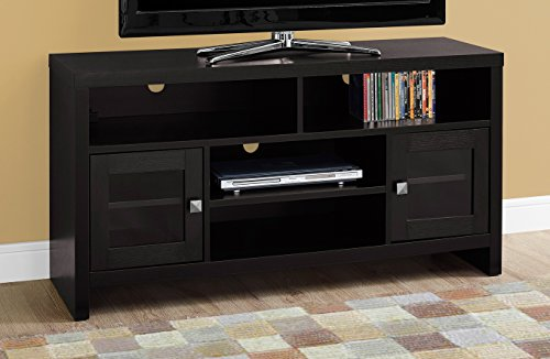 Monarch Specialties Cappuccino with Glass Doors TV Stand, 48