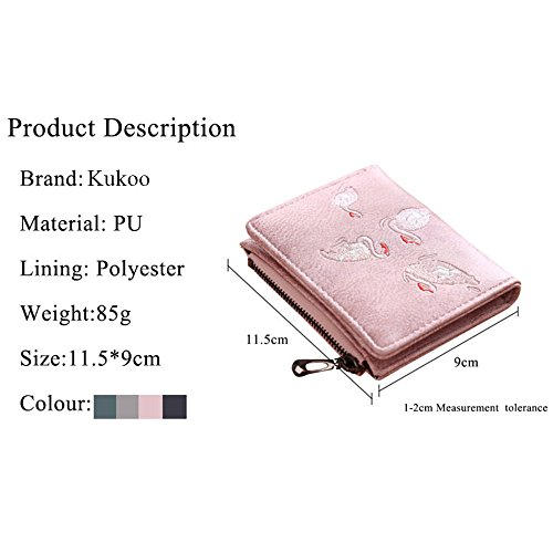 Kukoo Wallet Coin Mini Flamingo Women's Scrub Zipper Leather Embroidery Card Holder Green Purse RwrIRqUW