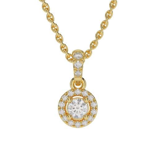 Or jaune 18carats G-H/VS sertie de diamants taille ronde Halo Colliers Agdnc-0255