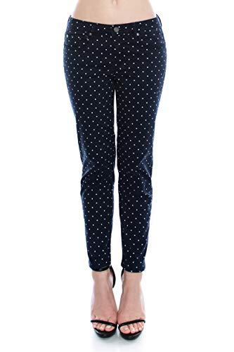 (Monkey Ride Jeans Women's Casual Dot Print Basic Denim Pants Slim Fit Stretchy Jeans 3, Navy)