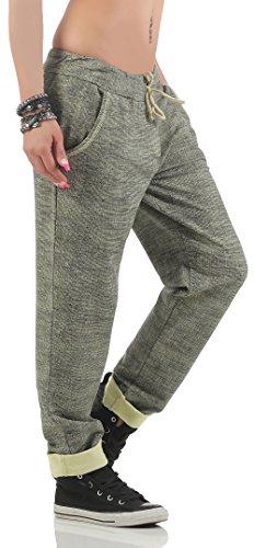malito Pantalones de Chándal con Patron de Tejer 7396 Mujer Talla Única amarillo