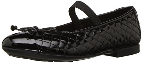 Geox Girls' Plie 48 Quilted Slip-On Patent Ballet Flat Mary Jane, Black, 36 Medium EU Big Kid (4 US) - Geox Leather Mary Janes