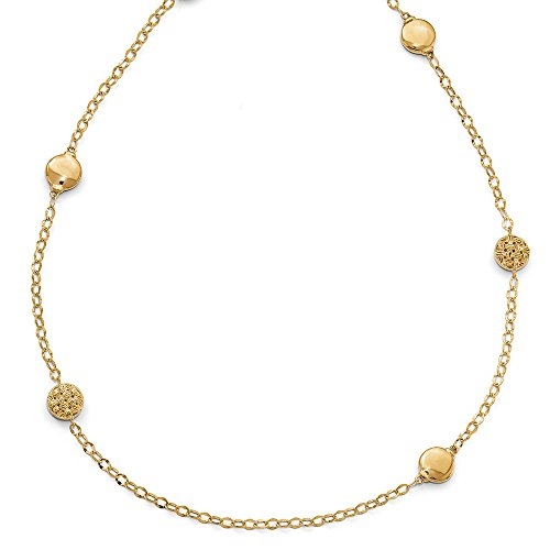 Basketweave Chain Necklace - 14k Yellow Gold Polished and D/C Basketweave Link Necklace, 32 Inch