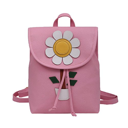 Price comparison product image Women Handbag, Hunzed Flowers Fresh Bags Women Simple Mini Backpack Casual Handbag Crossbody Shoulder Bag Back Pack Backpacks Girls (Big, Pink)