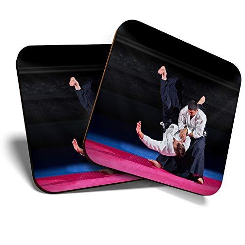 Aikido arti marziali Karate Fight #21120 quadrati//lucidi qualit/à per qualsiasi tipo di tavolo Grandi sottobicchieri set da 2