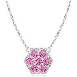 Pave Set Pink Sapphire Hexagon Necklace Pendant with Milgrain (2mm Pink Sapphire)