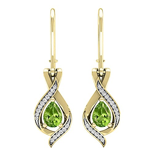 (Dazzlingrock Collection 18K 7X5 MM Each Pear Peridot & Round White Diamond Ladies Drop Earrings, Yellow Gold)