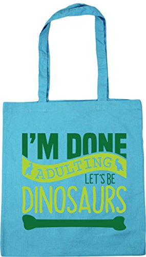 Blue 42cm HippoWarehouse Beach Surf I'm Tote Be Let's Gym 10 x38cm litres Shopping Done Dinosaurs Adulting Bag HpfwHqaFx