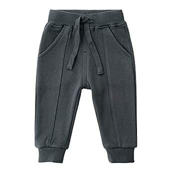 SYCLZ Unisex Kids 100% Cotton Drawstring Waist Active Jogger Pants Soild Color Baby Children Sweatpants with Pockets 12M-6T (2T, Dark Gray)
