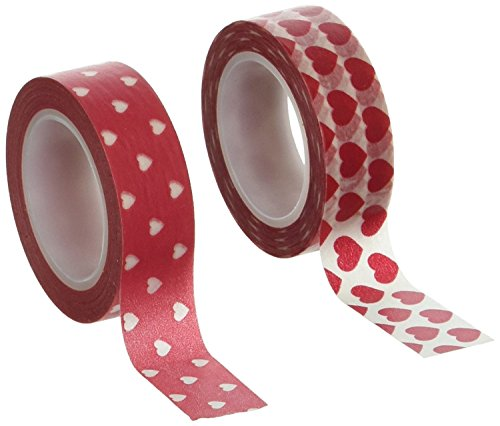 Allydrew 10M L x 15mm W Set of 2 Washi Masking Tape, Red and White Hearts