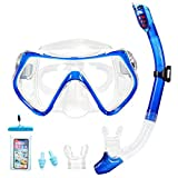 Supertrip Snorkel Set-Snorkeling Mask Diving Goggles Mask Dry Snorkel Set with 2 Mouthpieces 1 Waterproof Phone Pouch and 2 Earplugs for Adults and Youth Color Blue