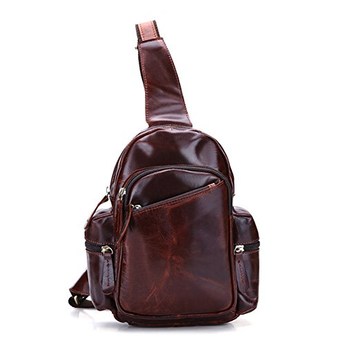 DRF Leather Sling Backpack Purse Men's Vintage One Strap Cross Body Bag BG-192 (Coffee)