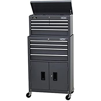 24 in. 10-Drawer Tool Chest and Rolling Tool Cabinet Set, Grey by HDX