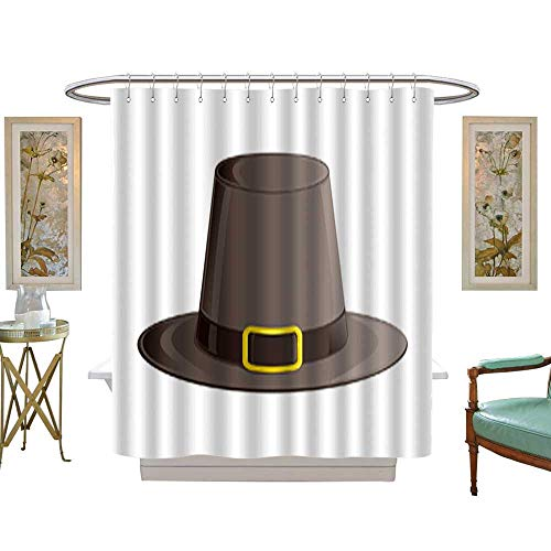 in Pilgrim hat with Ribbon and Golden Buckle Autumn and Thanksgiving Day Symbol Isometric 3D icon Isolated on White Background Vector. with Beaded Rings W54 x H78 Inch ()