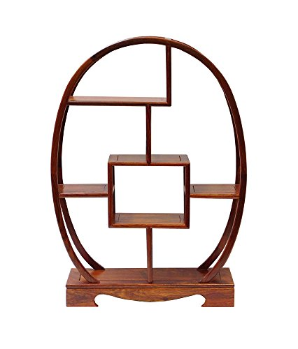 Chinese Rosewood Oval Small Table Top Curio Display Stand Acs457 (Cabinet Accent Oval Small)