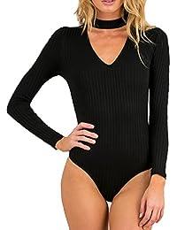 Allegrace Women Long Sleeve Sexy V Cut Stretch Bandage...