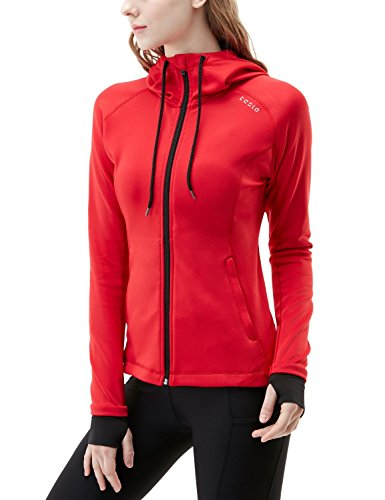 (TSLA Women's Lightweight Active Performance Full-Zip Hoodie Jacket, Active Fullzip Hoodie(fkj04) - Crimson Red, Small)