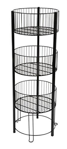 3-tiered Wire Dump Bin for Floor, 16-inch Round Storage Basket Stand, Black